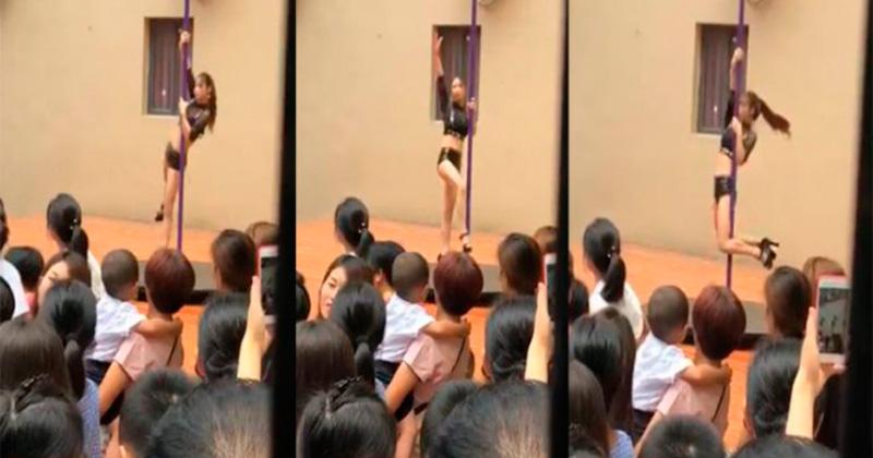 Baile de striptease en tubo escandaliza ceremonia de un kínder