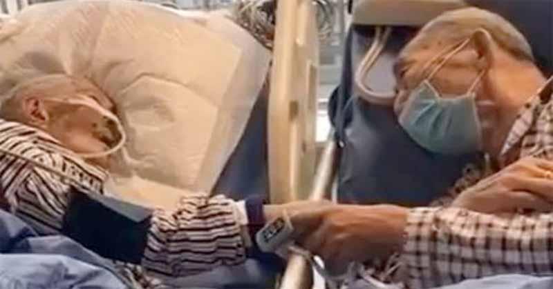 Pareja de abuelitos detectados con coronavirus se despiden en hospital