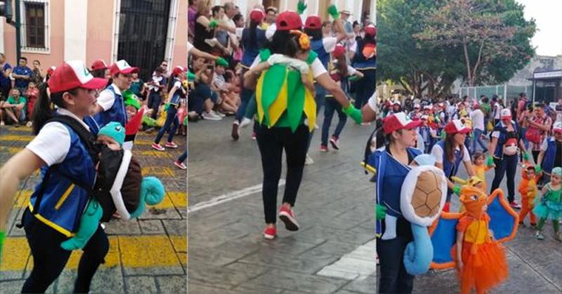 Mamás y bebés Pokémon desfilan en el Carnaval de Mérida